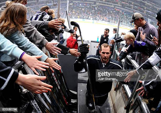 Kyle Clifford of the Los Angeles Kings leaves the ice after warm ups before the game against the Winnipeg Jets on April 9 2016 at STAPLES Center in...