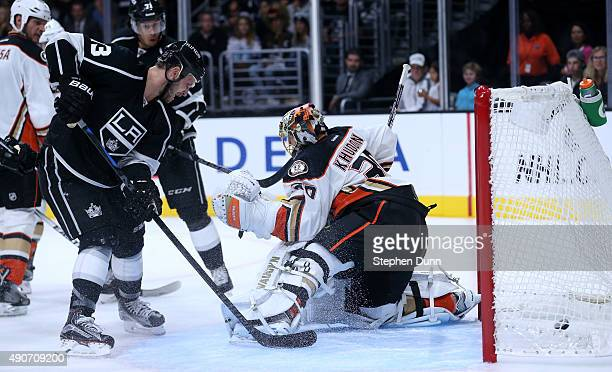 Kyle Clifford of the Los Angeles Kings tips the puck into the net past goalie Anton Khudobin of the Anaheim Ducks in the second period during...