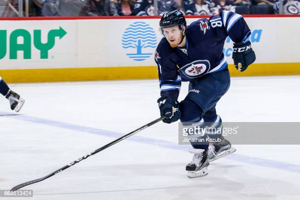 Kyle Connor of the Winnipeg Jets follows the play down the ice during third period action against the Nashville Predators at the MTS Centre on April...