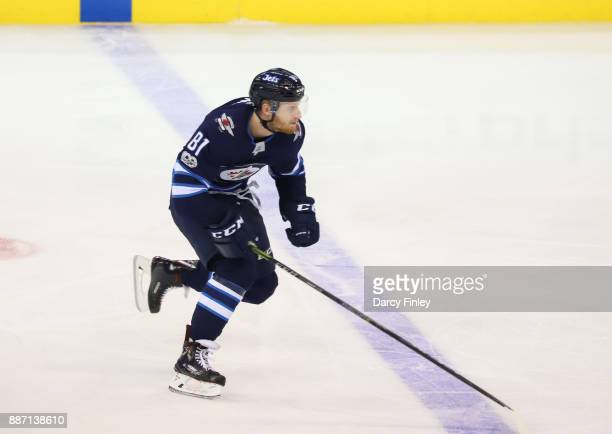 Kyle Connor of the Winnipeg Jets follows the play down the ice during third period action against the Vegas Golden Knights at the Bell MTS Place on...