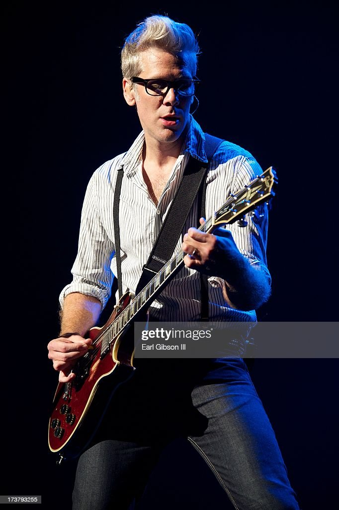 Kyle Cook (lead guitarist) of Matchbox 20 performs with the band at the Gibson Amphitheatre on July 17, 2013 in Universal City, California.