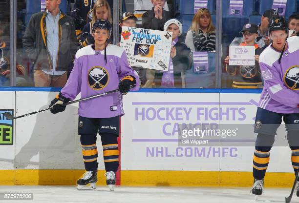 Kyle Criscuolo of the Buffalo Sabres warms up on Hockey Fights Cancer Night before an NHL game against the Carolina Hurricanes on November 18 2017 at...
