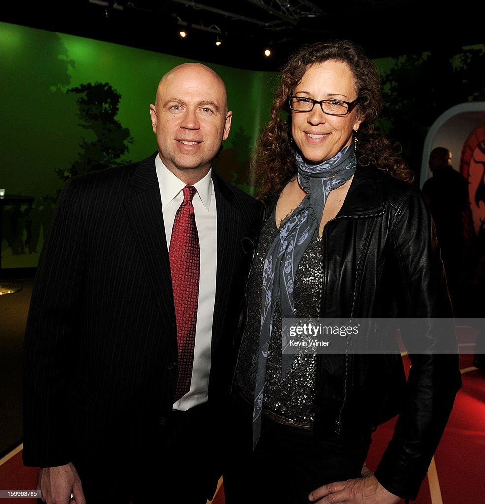 Kyle Davies (L), President, Worldwide Distribution and Shannon Gaulding, SVP, Production pose at the after party for the premiere of Relativity Media's 'Movie 43' at Madame Tussaud's Hollywood on January 23, 2013 in Los Angeles, California.
