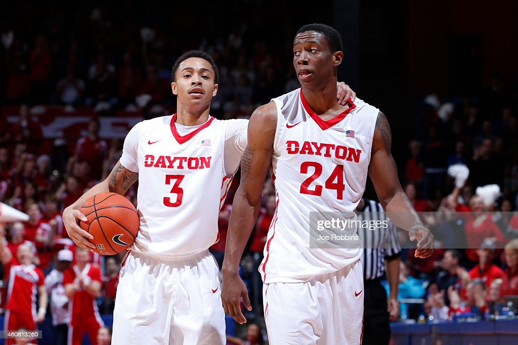 Kyle Davis and Jordan Sibert of the Dayton Flyers celebrate during the game against the Georgia Tech Yellow Jackets at UD Arena on December 23 2014...