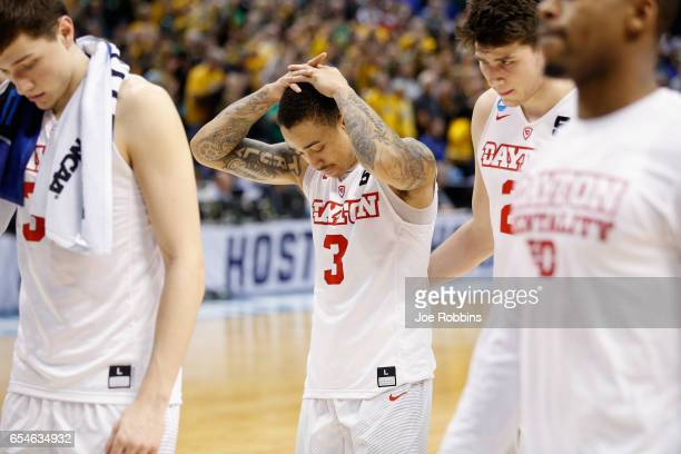 Kyle Davis of the Dayton Flyers walks off the court after being defeated by the Wichita State Shockers 6458 in the first round of the 2017 NCAA Men's...