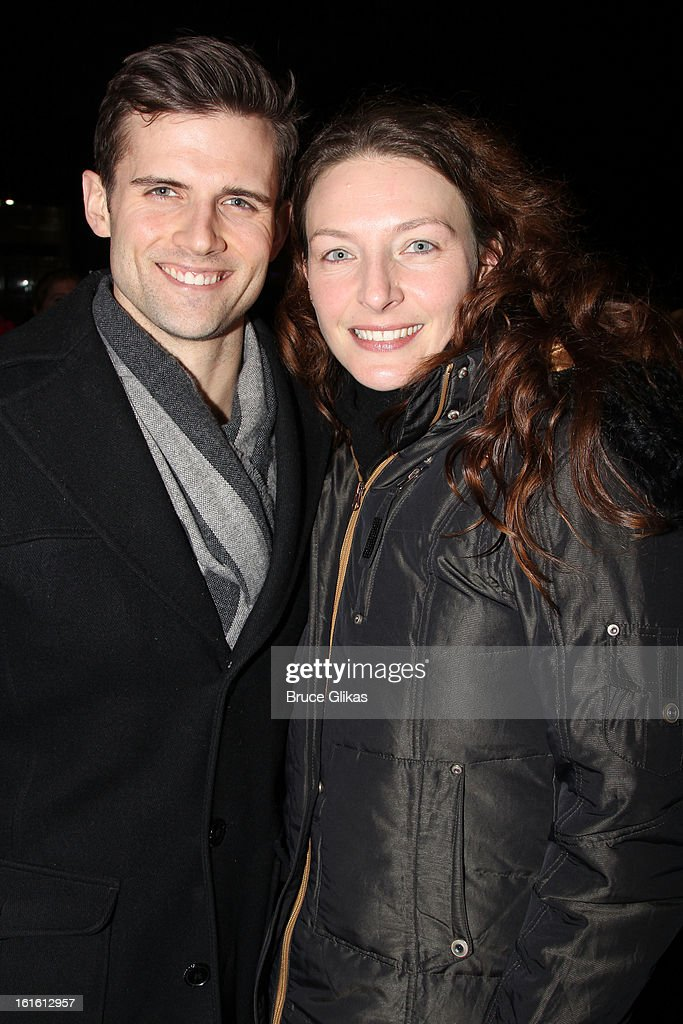 Kyle Dean Massey and Willemijn Verkaik pose at the stagedoor as Willemijn Verkaik makes her Broadway Debut In 'Wicked' On Broadway at The Gershwin Theatre on February 12, 2013 in New York City.