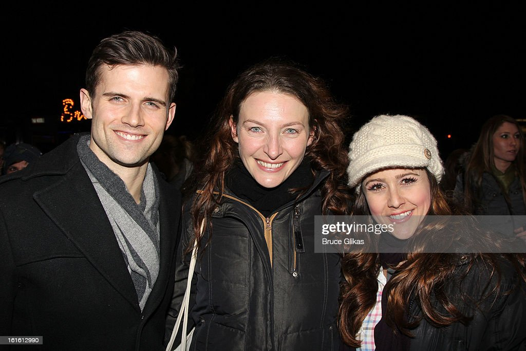 Kyle Dean Massey, Willemijn Verkaik and Alli Mauzey pose at the stagedoor as Willemijn Verkaik makes her Broadway Debut In 'Wicked' On Broadway at The Gershwin Theatre on February 12, 2013 in New York City.
