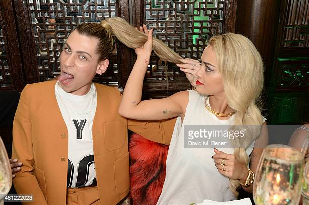 Kyle De'Volle and Rita Ora attend a private dinner celebrating the launch of the 'CJG' collection by Chloe Green into Topshop at China Tang on March...