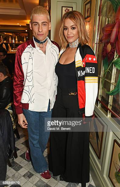 Kyle De'Volle and Rita Ora attend the adidas Originals by Rita Ora dinner at The Ivy Chelsea Garden on November 23 2016 in London England