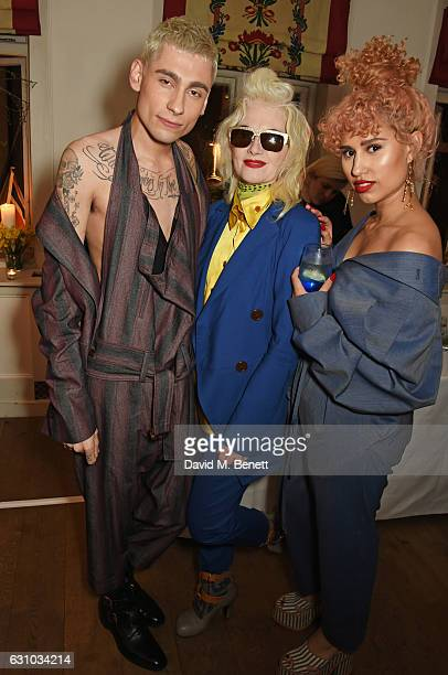 Kyle De'volle Pam Hogg and Raye attend a drinks reception hosted by Dame Vivienne Westwood and The British Fashion Council to celebrate London...