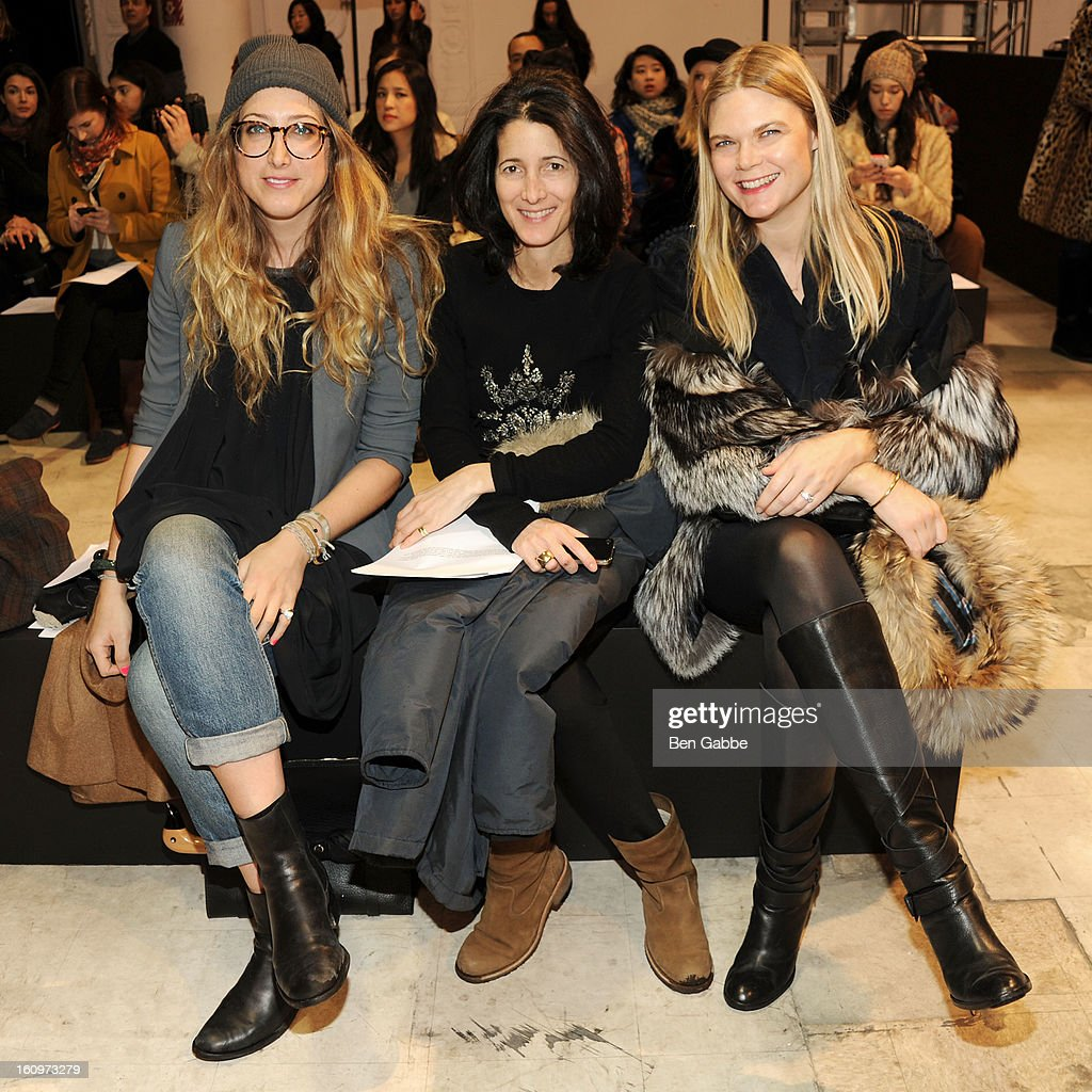 Kyle DeWoody, Amanda Ross and Kate Shelter attend the Chadwick Bell fall 2013 fashion show during Mercedes-Benz Fashion Week at Cafe Rouge on February 8, 2013 in New York City.