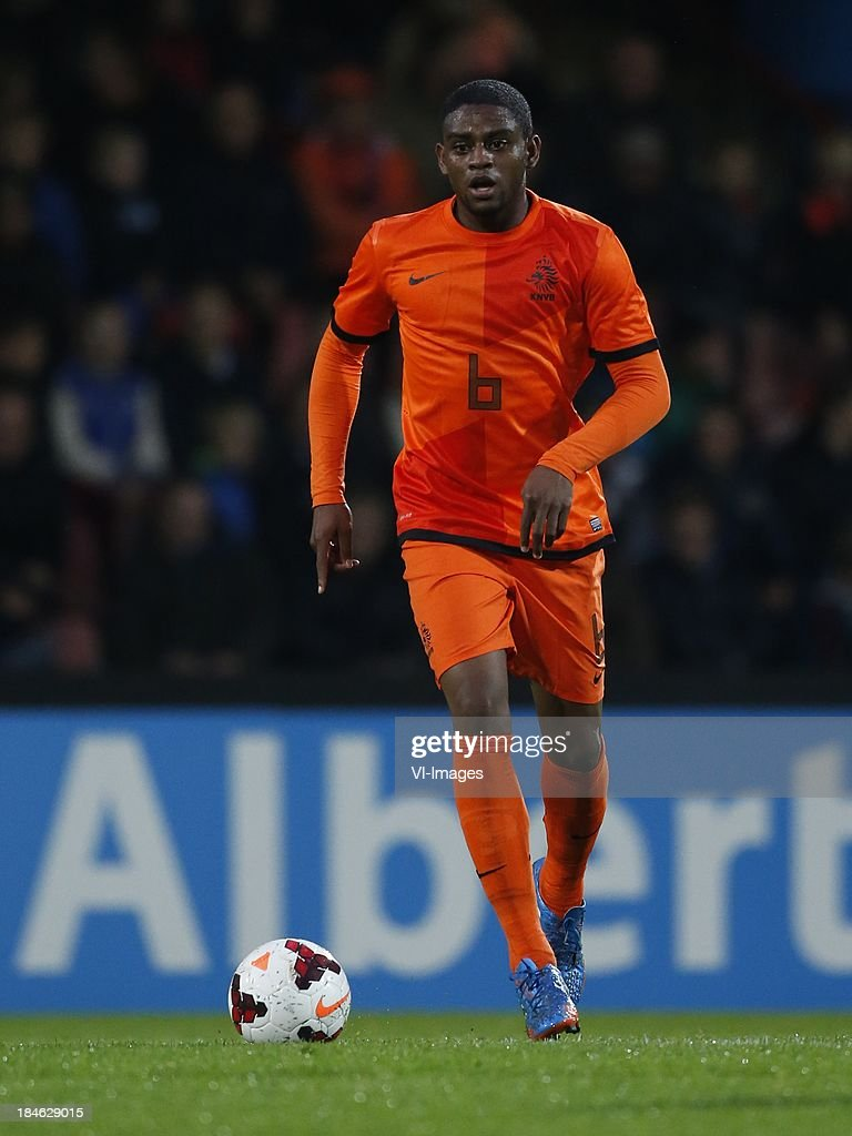 Kyle Ebecilio of Netherlands U21 during 2015 UEFA European U21 Championships Qualifier match between the Netherlands U21 and Austria U21 at the Adelaarshorst on Oktober 14, 2013 in Deventer, The Netherlands