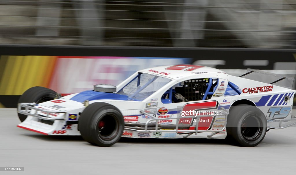 Kyle Ebersole, driver of the #5 Ebersole Excavating Ford drives during practice for the NASCAR Whelen Modified Tour Titan Roof 150at Bristol Motor Speedway on August 21, 2013 in Bristol, Tennessee.