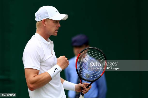 Kyle Edmund celebrates against Alexander Ward on day two of the Wimbledon Championships at The All England Lawn Tennis and Croquet Club Wimbledon