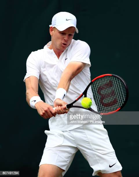 Kyle Edmund in action against Alexander Ward on day two of the Wimbledon Championships at The All England Lawn Tennis and Croquet Club Wimbledon