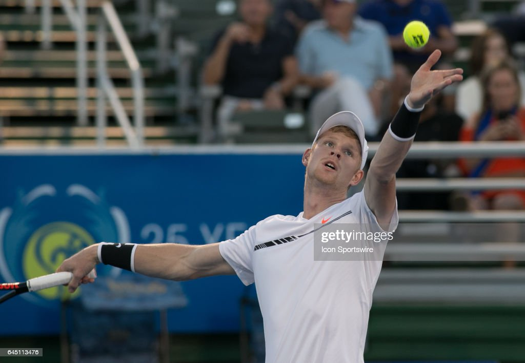 Kyle Edmund (GBR) is defeated by Milos Raonic (CAN) during the Quarterfinals of the ATP Delray Beach Open on February 24, 2017 at the Delray Beach Stadium & Tennis Center in Delray Beach, Florida.