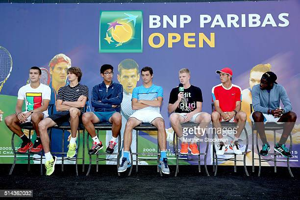 Kyle Edmund of Great Britain addresses the audiance while participating in the ATP #NextGen player panel with Borna Coric of Croatia Alexander Zverev...