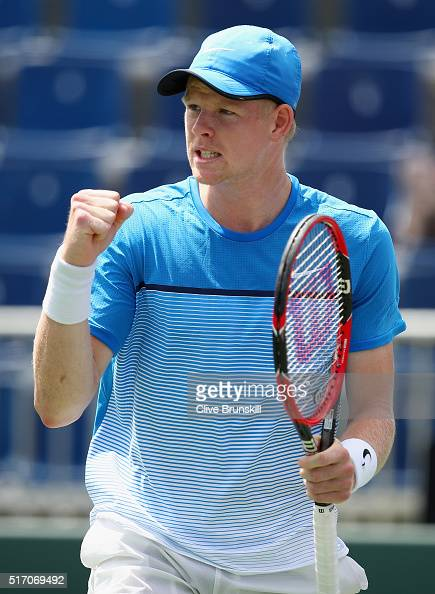 Kyle Edmund of Great Britain celebrates a point after his three set victory against Jiri Vesely of the Czech Republic in their first round match...
