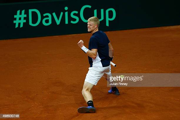 Kyle Edmund of Great Britain celebrates a point during the singles match against David Goffin of Belgium on day one of the Davis Cup Final 2015 at...