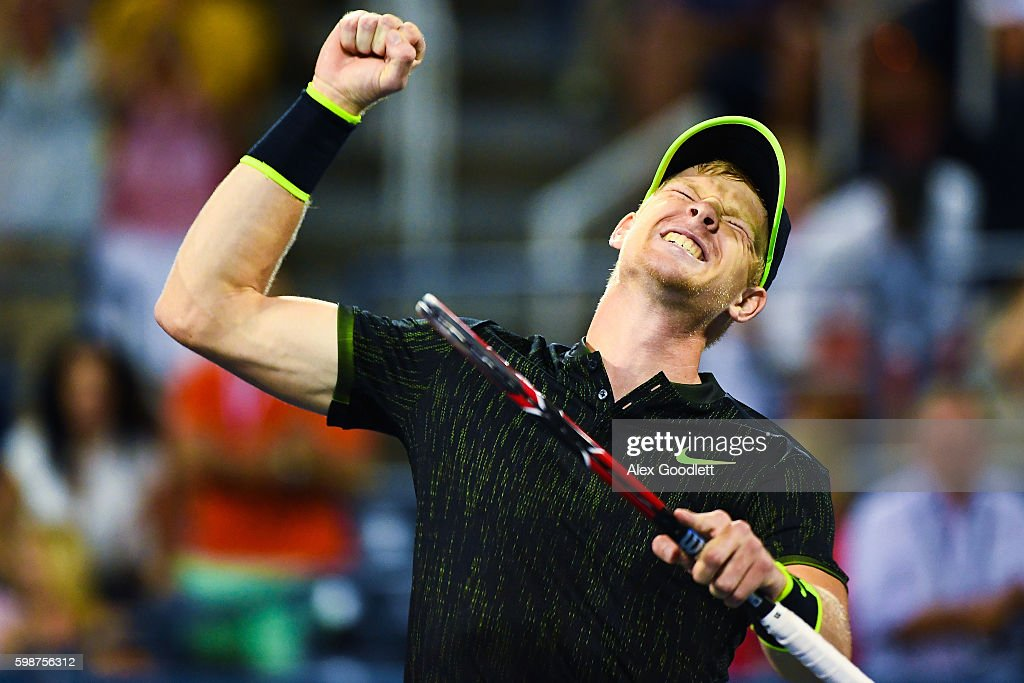 Kyle Edmund of Great Britain celebrates a win over John Isner of the United States during his third round Men's Singles match on Day Five of the 2016 US Open at the USTA Billie Jean King National Tennis Center on September 2, 2016 in the Flushing neighborhood of the Queens borough of New York City.
