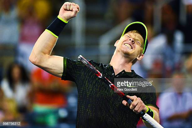 Kyle Edmund of Great Britain celebrates a win over John Isner of the United States during his third round Men's Singles match on Day Five of the 2016...
