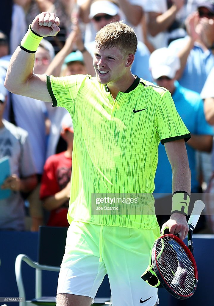 Kyle Edmund of Great Britain celebrates his first round Men's Singles match victory over Richard Gasquet of France on Day One of the 2016 US Open at...