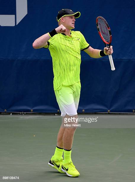 Kyle Edmund of Great Britain celebrates his victory over Ernesto Escobedo of the United States during his second round Men's Singles match on Day...