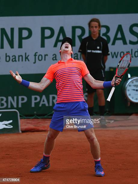 Kyle Edmund of Great Britain celebrates match point during his men's singles match against Stephane Robert of France on day two of the 2015 French...