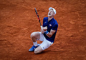 Kyle Edmund of Great Britain celebrates victory against Dusan Lajovic of Serbia after day three of the Davis Cup Quarter Final match between Serbia...