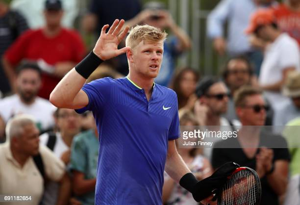 Kyle Edmund of Great Britain celebrates victory during the men's singles second round match against Renzo Olivo of Argentina on day five of the 2017...