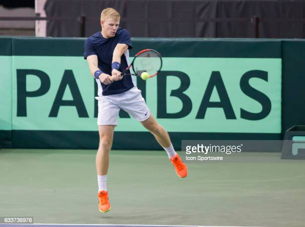 Kyle Edmund of Great Britain delivers a backhand against Vasek Pospisil of Canada in the BNP Paribas Davis Cup Tennis Canada v Great Britain team...
