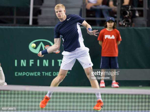 Kyle Edmund of Great Britain hits a forehand back to Vasek Pospisil of Canada in the BNP Paribas Davis Cup Tennis Canada v Great Britain team match...