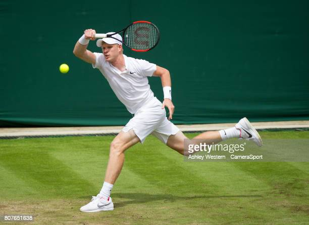 Kyle Edmund of Great Britain in action against Alexander Ward of Great Britain in their Men's Singles First Round Match at Wimbledon on July 4 2017...