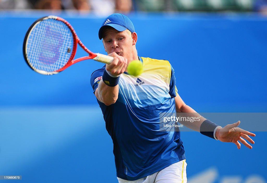 <a gi-track='captionPersonalityLinkClicked' href=/galleries/search?phrase=Kyle+Edmund&family=editorial&specificpeople=7070090 ng-click='$event.stopPropagation()'>Kyle Edmund</a> of Great Britain in action against Gilles Simon of France during Day Five of the AEGON International at Devonshire Park on June 19, 2013 in Eastbourne, England.