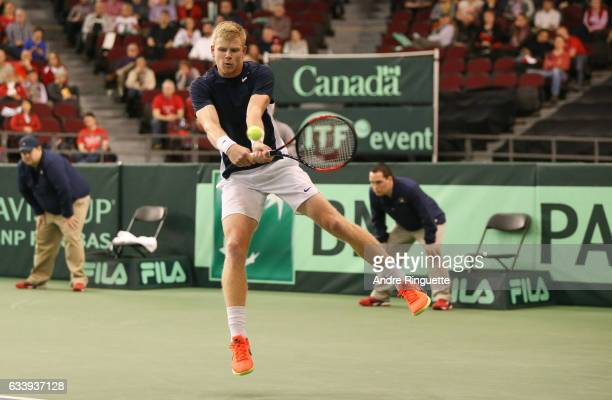 Kyle Edmund of Great Britain in action during his singles match against Denis Shapovalov of Canada on day three of the Davis Cup World Group tie...