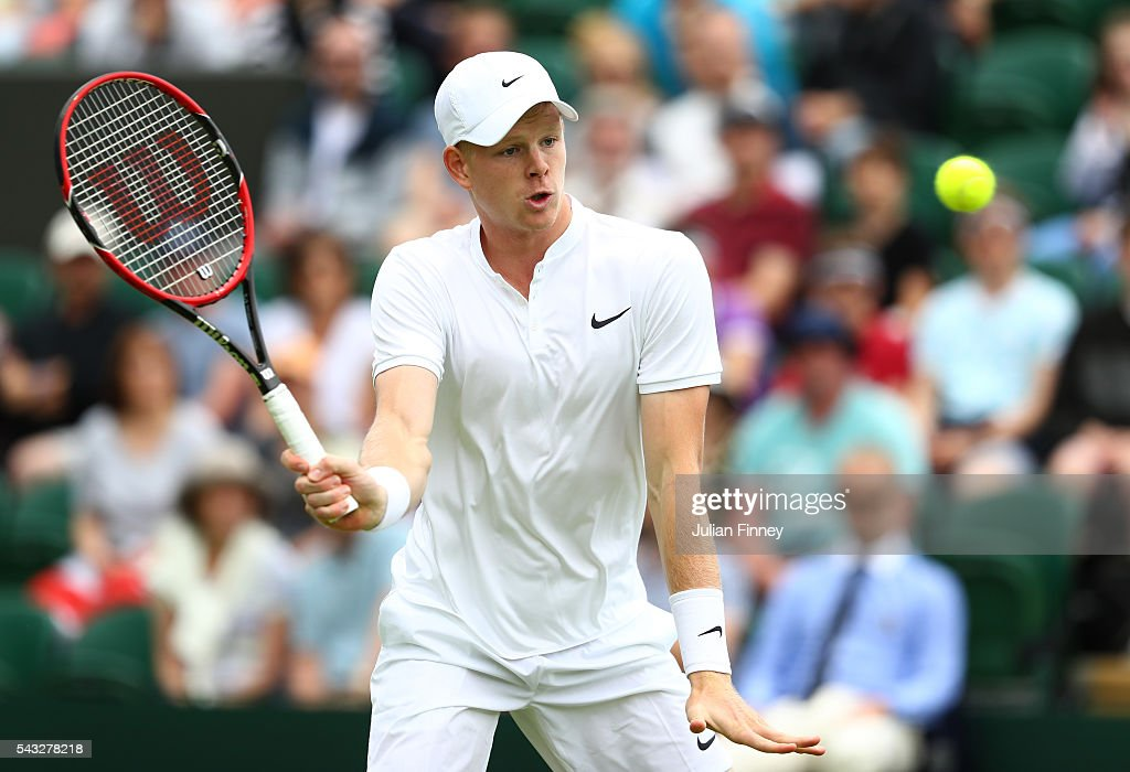 <a gi-track='captionPersonalityLinkClicked' href=/galleries/search?phrase=Kyle+Edmund&family=editorial&specificpeople=7070090 ng-click='$event.stopPropagation()'>Kyle Edmund</a> of Great Britain plays a forehand shot during the Men's First round match against Adrian Mannarino of France on day one of the Wimbledon Lawn Tennis Championships at the All England Lawn Tennis and Croquet Club on June 27th, 2016 in London, England.