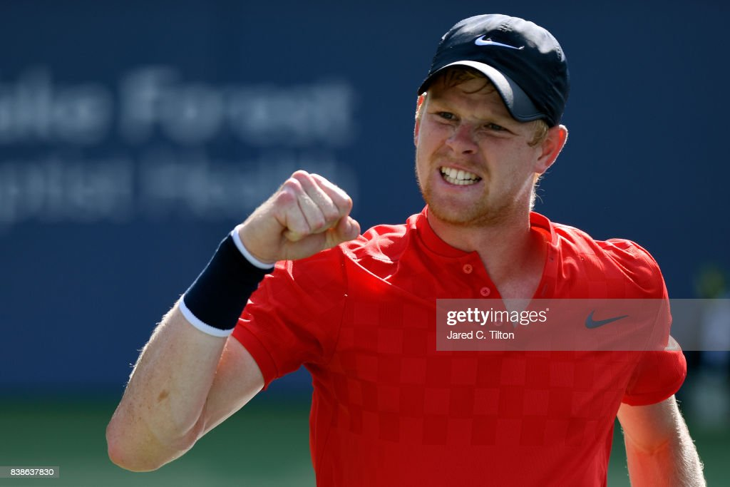 Kyle Edmund of Great Britain reacts after a point against Steve Johnson during their quarterfinals match of the Winston-Salem Open at Wake Forest University on August 24, 2017 in Winston-Salem, North Carolina.