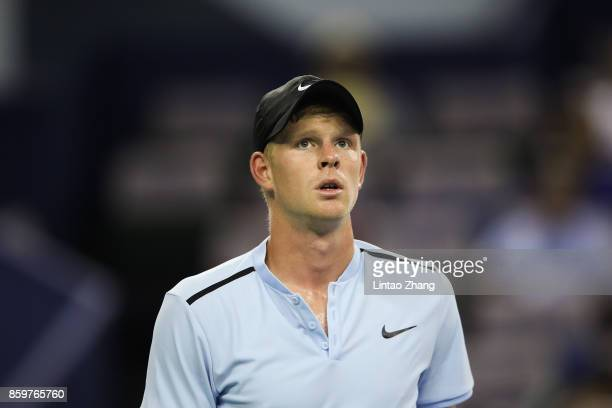Kyle Edmund of Great Britain reacts after losing the point during the Men's singles mach against Marin Cilic of Croatia on day three of 2017 ATP...