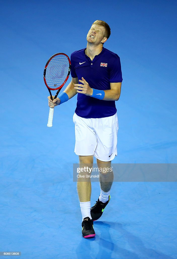 Kyle Edmund of Great Britain reacts during his singles match against Guido Pella of Argentina during day one of the Davis Cup Semi Final between Great Britain and Argentina at Emirates Arena on September 16, 2016 in Glasgow, Scotland.