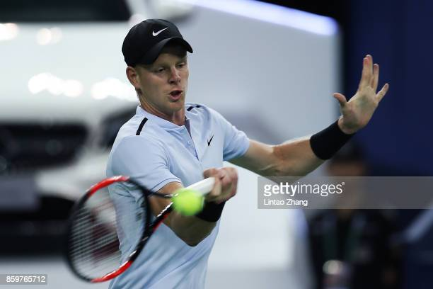 Kyle Edmund of Great Britain returns a shot during the Men's singles mach against Marin Cilic of Croatia on day three of 2017 ATP Shanghai Rolex...