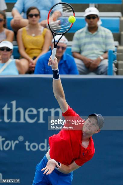 Kyle Edmund of Great Britain serves the ball to Joao Sousa of Portugal during Day 3 of the Western and Southern Open at the Lindner Family Tennis...