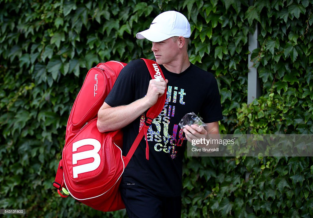 <a gi-track='captionPersonalityLinkClicked' href=/galleries/search?phrase=Kyle+Edmund&family=editorial&specificpeople=7070090 ng-click='$event.stopPropagation()'>Kyle Edmund</a> of Great Britain walks to his practice session prior to the Wimbledon Lawn Tennis Championships at the All England Lawn Tennis and Croquet Club on June 26, 2016 in London, England.