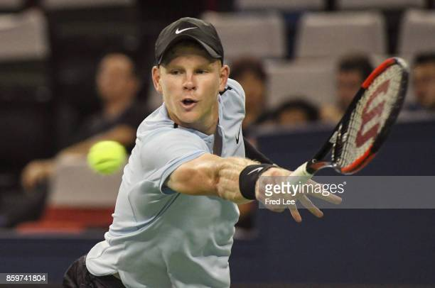 Kyle Edmund of United Kingdom hits a backhand during the Men's singles match against Marin Cilic of Croatia on day three of the Shanghai Rolex...