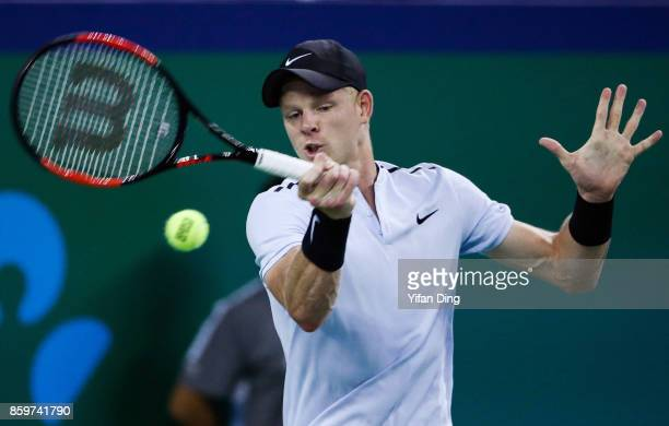 Kyle Edmund of United Kingdom hits a forehand during the Men's singles match against Marin Cilic of Croatia on day three of the Shanghai Rolex...