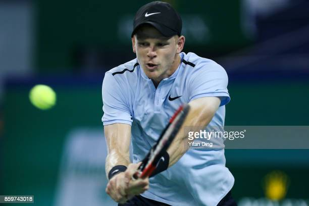 Kyle Edmund of United Kingdom plays a backhand during the Men's singles mach against Marin Cilic of Croatia on day 3 of Shanghai Rolex Masters at Qi...