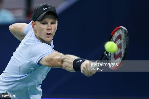 Kyle Edmund of United Kingdom plays a backhand during the Men's singles match against Marin Cilic of Croatia on day three of the Shanghai Rolex...