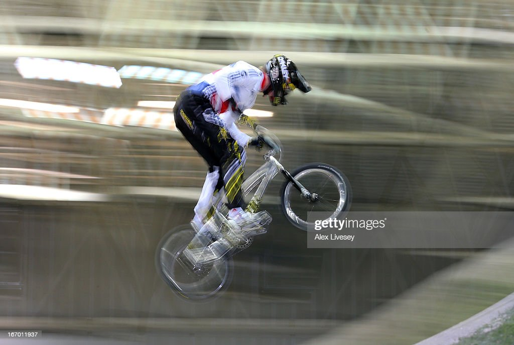Kyle Evans of Great Britain takes the first jump during the Men's Elite Time trials Superfinal in the UCI BMX Supercross World Cup at National Cycling Centre on April 19, 2013 in Manchester, England.