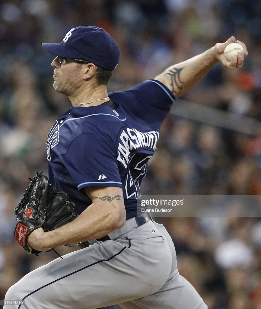 <a gi-track='captionPersonalityLinkClicked' href=/galleries/search?phrase=Kyle+Farnsworth&family=editorial&specificpeople=162760 ng-click='$event.stopPropagation()'>Kyle Farnsworth</a> #43 of the Tampa Bay Rays pitches against the Detroit Tigers at Comerica Park on June 4, 2013 in Detroit, Michigan.