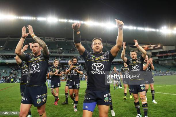 Kyle Feldt of the Cowboys and Antonio Winterstein of the Cowboys celebrate victory at the end of during the NRL Elimination Final match between the...