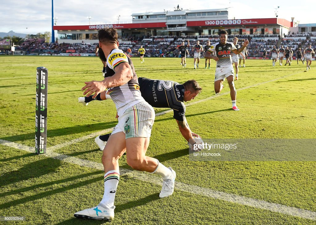 Kyle Feldt of the Cowboys catches a high ball to score a try during the round 16 NRL match between the North Queensland Cowboys and the Penrith Panthers at 1300SMILES Stadium on June 24, 2017 in Townsville, Australia.